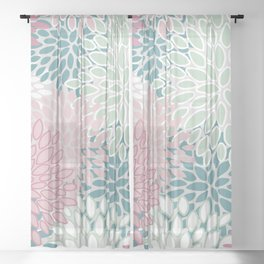Floral Blooms, Soft Pink, Green and Teal, Design Prints Sheer Curtain