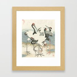Cranes on the Water by Kubota Shunman, 1816 Framed Art Print