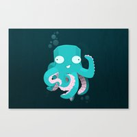 kraken Canvas Prints featuring Kraken by Damien Mason