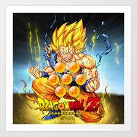 dragon ball Art Prints featuring goku ball z design by customgift