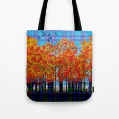 Fall Leaves On Plaid Tote Bag