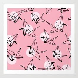 Pink Crane Pattern Art Print