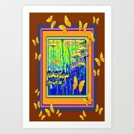 Modern Golden Butterflies Floral Coffee Brown Abstract Art Print