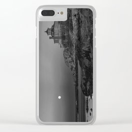 """Full """"Pink"""" Moon at Good Harbor Beach BW Clear iPhone Case"""