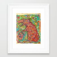 rat Framed Art Prints featuring rat by strait89