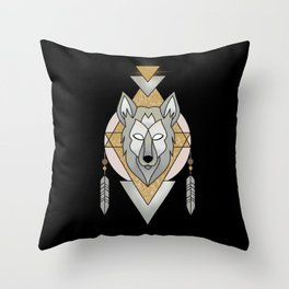 Mystic Wolf Throw Pillow