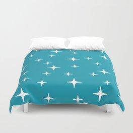 Mid Century Modern Star Pattern 443 Turquoise Duvet Cover