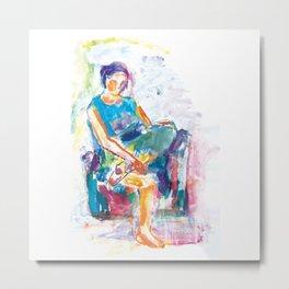 Woman in an armchair 6 watercolor Metal Print