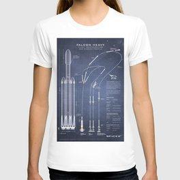 SpaceX Falcon Heavy Spacecraft NASA Rocket Blueprint in High Resolution (dark blue) T-shirt