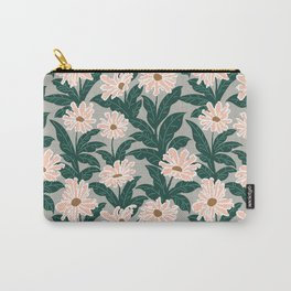 Pink Daisies Grey Background - Repeat Floral Pattern Carry-All Pouch