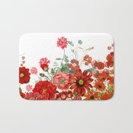 Vintage & Shabby Chic - Red Summer Flower Garden Bath Mat