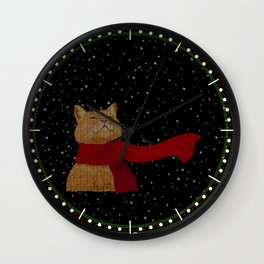 Knitted Wintercat Wall Clock