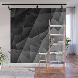 Metal sharp pattern of chaotic black and white fragments of glass, foil, highlights silver ingots. Wall Mural