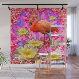 Pink Saffron Flamingo Yellow Water Lilies Deco Art Wall Mural