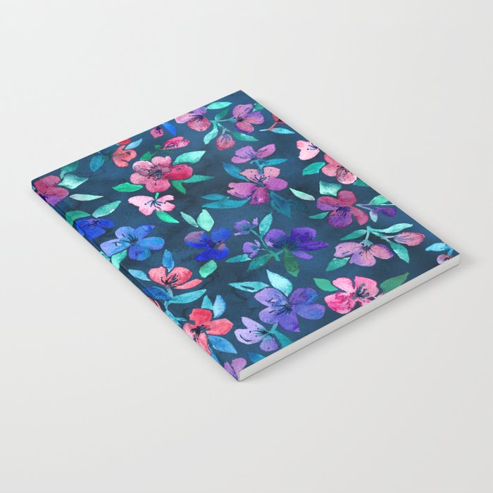 Southern Summer Floral - navy + colors Notebook