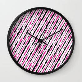 Pink and Black Pattern Wall Clock