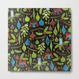 Fun Colorful Glitter Christmas pattern Metal Print