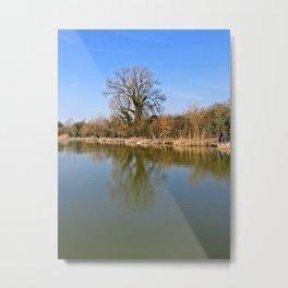 Fisherman on a reservoir Metal Print