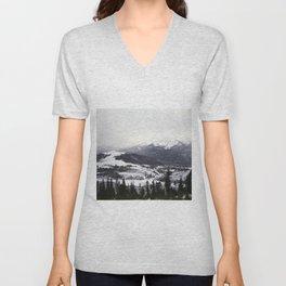 Snowy Mountains on Film Unisex V-Neck