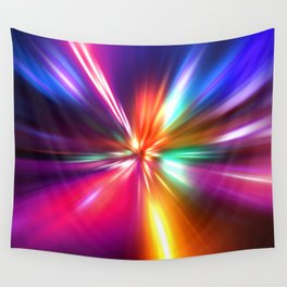 acceleration speed motion on night road Wall Tapestry