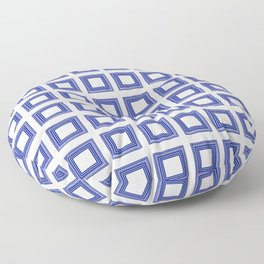 Blue and White Lines Geometric Abstract Pattern Floor Pillow