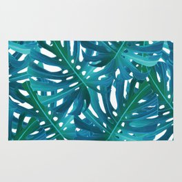 Monstera Swiss Cheese Plant Leaf Toss in Botanical Green Rug