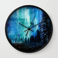 northern lights Wall Clocks featuring Northern Lights by VivianLohArts