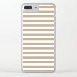 Pantone Hazelnut and White Uniform Stripes Fat Horizontal Lines Clear iPhone Case
