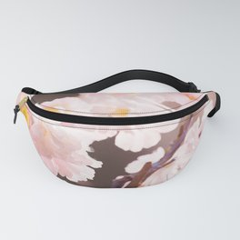 Pastel Pink Cherry Blossom Soft Brown Background #decor #society6 #buyart Fanny Pack