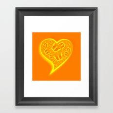 Glowing yellow and orange butterflies in a heart Framed Art Print