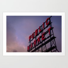 Travel Sunset Pink Pike Market in Seattle Washington Cascadia Art Print