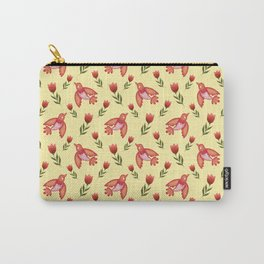 Pretty cute little wild canary birds, red blooming garden tulips, nature flowers bright sunny yellow pattern. Hello spring. Gifts for tulip lovers. Botanical floral artistic design. Carry-All Pouch