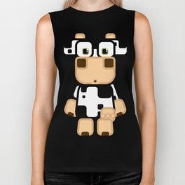 Super cute cartoon cow in black and white - a moo-st have design for  cow enthusiasts! Biker Tank
