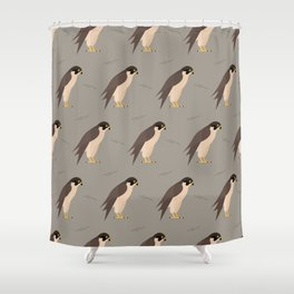 Falcons on grey Shower Curtain