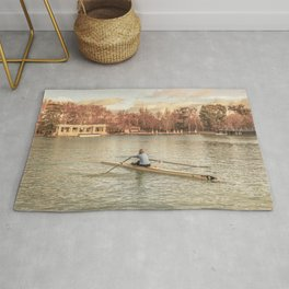 Woman Rowing at Del Retiro Park, Madrid, Spain Rug