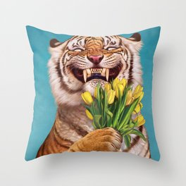 Smiling (shy) Tiger - holding bouquet (tulip) Throw Pillow