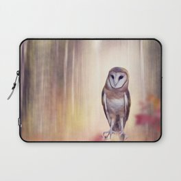Barn owl perching in the autumn sunny forest Laptop Sleeve