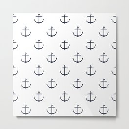 Yacht style. Anchor. Navy blue & white. Metal Print