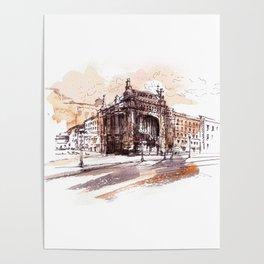 Art Nouveau building / watercolor and ink. Poster