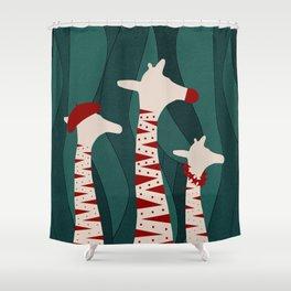 Giraffes Family Holiday Design Shower Curtain