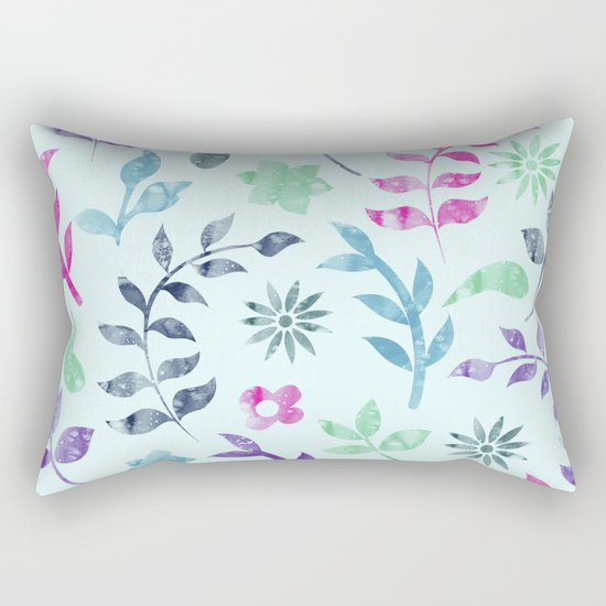 Seamless Flower Pattern Rectangular Pillow