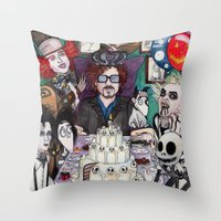 tim burton Throw Pillows featuring TIM BURTON TEA PARTY by ●•VINCE•●