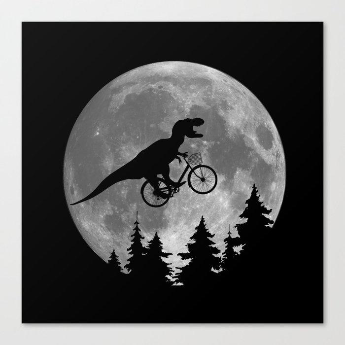 Biker t rex In Sky With Moon 80s Parody Leinwanddruck