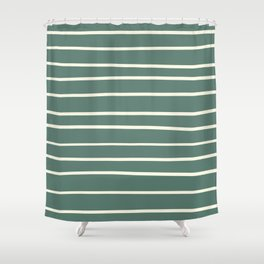 Dover White 33-6 Hand Drawn Horizontal Lines on Thistle Green 22-18 Shower Curtain