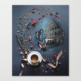 Little Coffee story in Rome Canvas Print