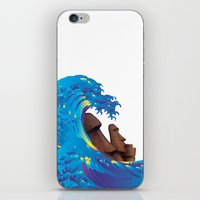 hokusai iPhone & iPod Skins featuring Hokusai Rainbow & Moai by FACTORIE