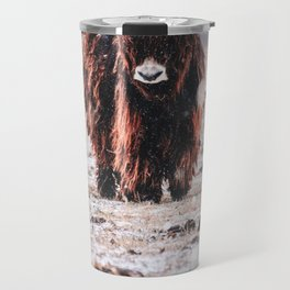 Bison in the snow Travel Mug