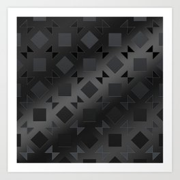 Pattern of squares and diamonds in black gradient Art Print