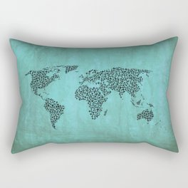Teal Star World Map Rectangular Pillow