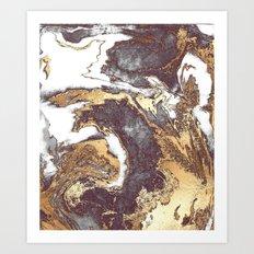 Black White Gold Art Print